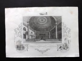 Hinton USA C1850 Antique Print. Interior of the Presbyterian Church, Savannah